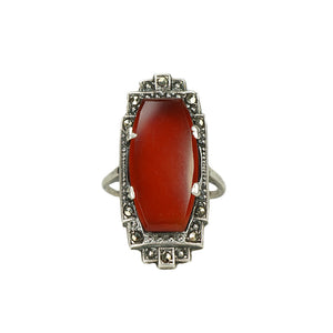 Art Deco Sterling Carnelian Marcasite Ring - Gem Set Love