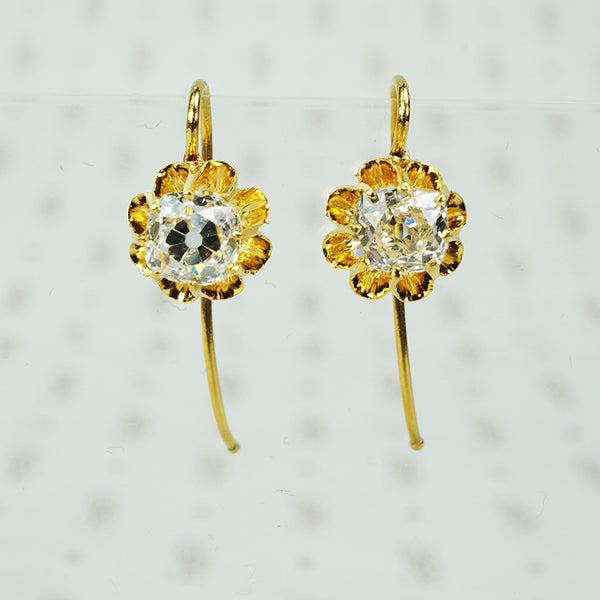 antique cushion cut diamond drop earrings