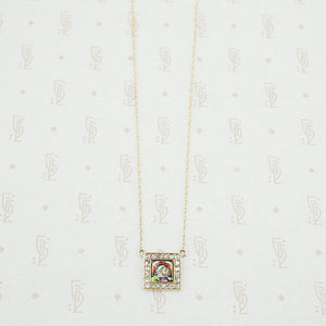 gold enamel and rose cut diamond necklace