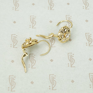 Fancy Vintage Yellow Gold Diamond Drop Earrings
