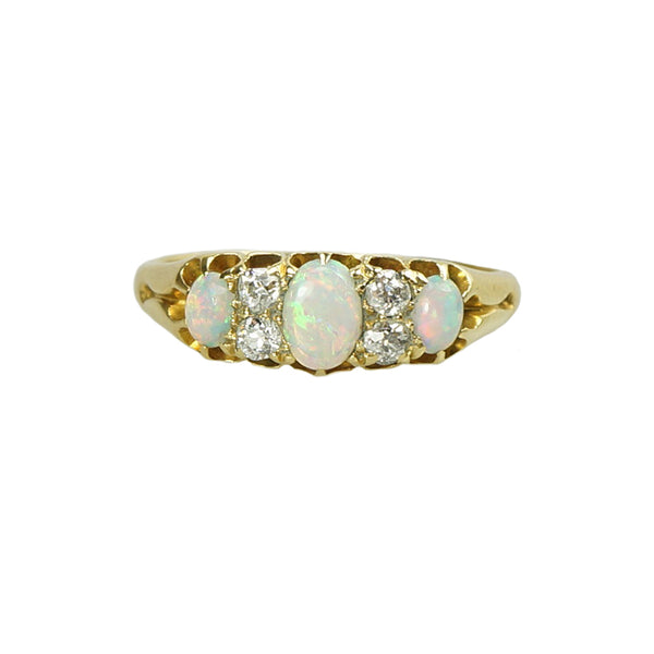 Shimmering Opals and Mine cut Diamonds in 18k Yellow Gold - Gem Set Love