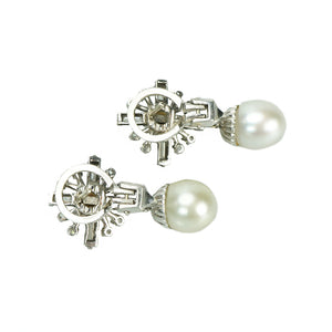 Gorgeous Vintage Pearl and Diamond Drop Earrings - Gem Set Love