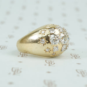 vintage diamond covered 14k yellow gold Bombé ring side view