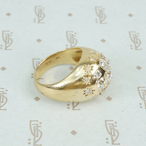 vintage diamond covered 14k yellow gold Bombé ring shoulders