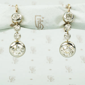 antique diamond drop earrings in platinum on 14k yellow gold