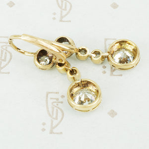Antique Old Euro Diamond Drop Earrings