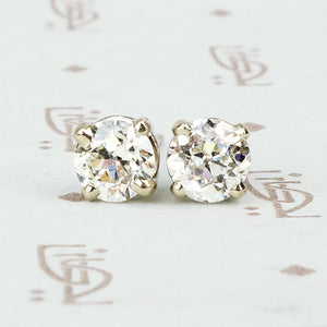 Vintage 14k white gold diamond stud earrings