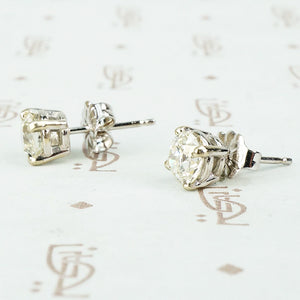 Old Euro Diamond Stud Earrings 1.15tcw