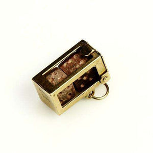 9k Gold Charm Dice in a cage London 1956