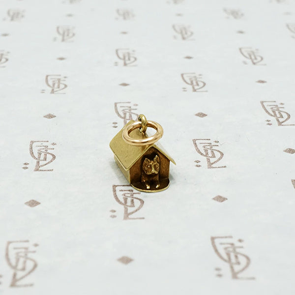 gold dog house charm