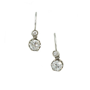diamond drop earrings omc silver on gold