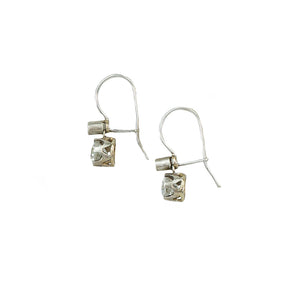 diamond drop earrings omc silver on gold side view
