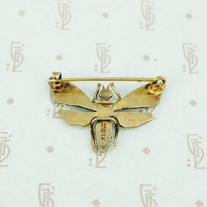 silver gilt enamel moth brooch back