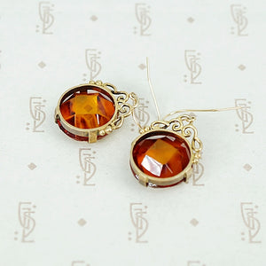 Glowing Faceted Baltic Amber Drop Earrings