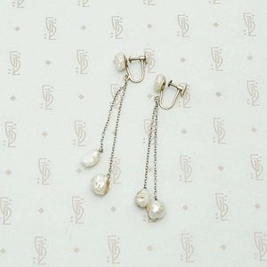 1920s natural pearl & white gold dangle earrings, with screw back