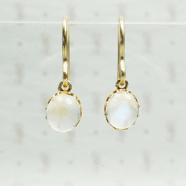 gold and moonstone ear drops vintage recycled