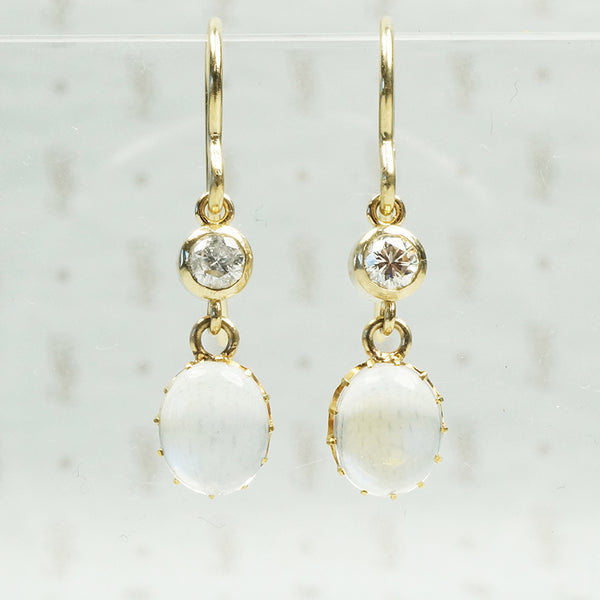 Vintage moonstone earrings with .22tcw vintage diamonds in 14k gold