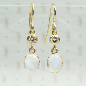 vintage moonstones in their original 11k settings with vintage diamonds and recycled ear wirs