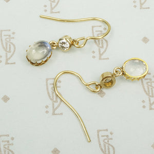 LUNA Moonstone and Diamond Ear Drops