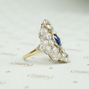 Elegant Belle Époque Diamond and Sapphire Ring