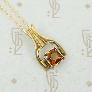 Sophisticated Arts & Crafts Citrine Pendant