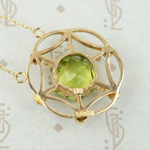 Lacy Edwardian Peridot and Pearl Necklace