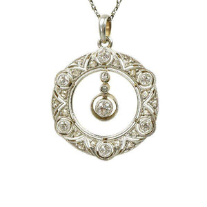 Edwardian Platinum Filigree Diamond Pendant