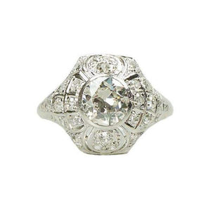 Stunning Edwardian Platinum and Diamond Engagement Ring
