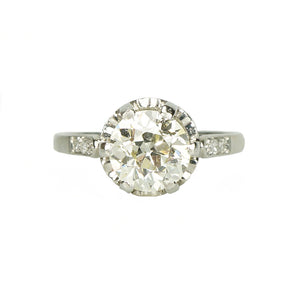 Platinum Edwardian Solitaire Engagement Ring - Gem Set Love