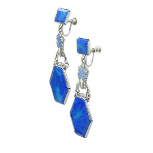 Lovely Blue Czech Glass Earrings with Pale Blue Enameling