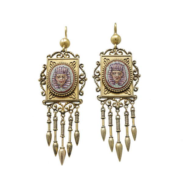 egyptian revival micro mosaic earrings