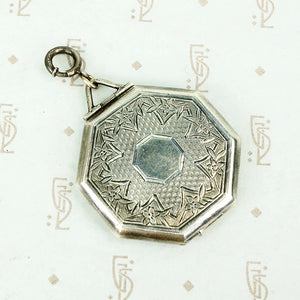 Octagon shaped sterling silver elgin locket