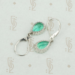pear shaped emerald earrings platinum back view