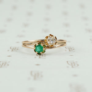 tulip set crossover ring emerald and diamond