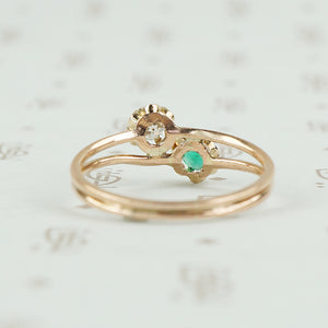 back view of emerald and diamond ring