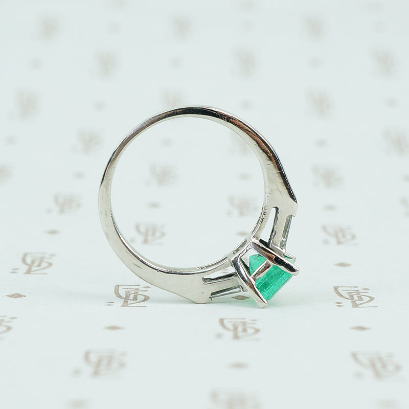 Rich Green Emerald in Platinum 1950's Engagement Ring