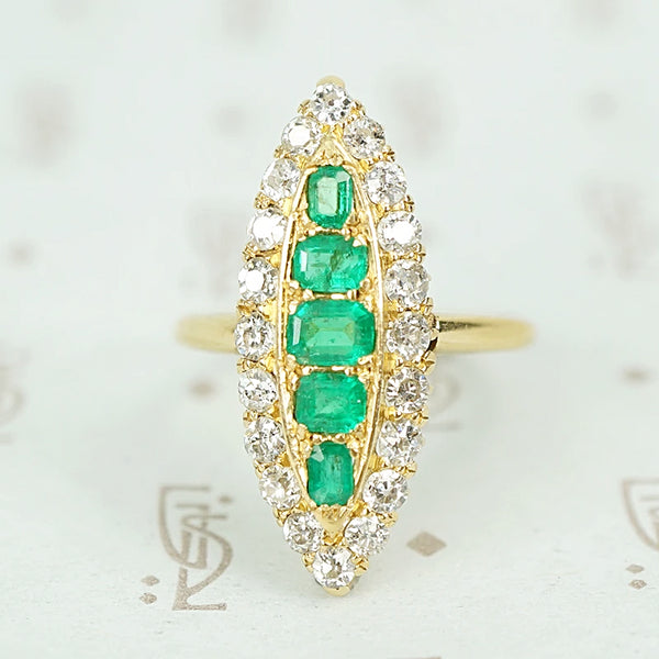 Brightest Emerald and Diamond Navette Ring