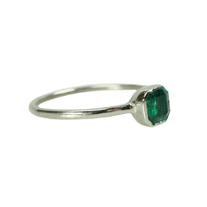Antique Square Emerald in Recycled White Gold - Gem Set Love
