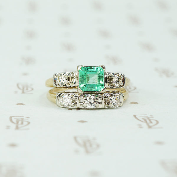 Vintage 1940's 2 tone Gold Emerald Wedding Set