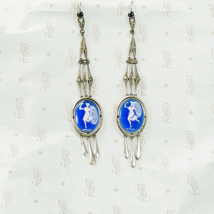 Long Silver Earrings with Enameled Glass Cameos
