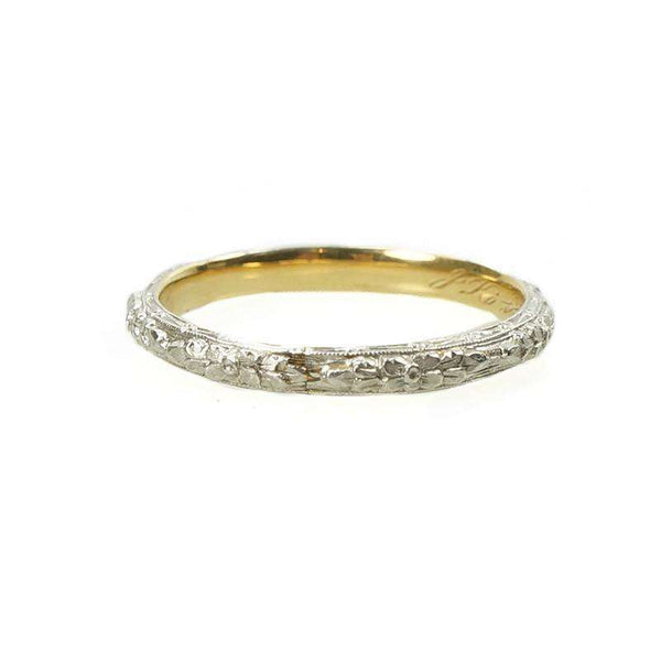a2a0cc1eb Deeply Engraved Forget me not Wedding Band in Platinum on 18k yellow gold