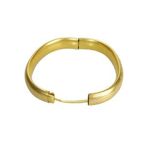 Engraved Gold Filled Vintage Bangle - Gem Set Love