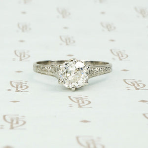 edwardian platinum 1.02 carat solitaire omc diamond