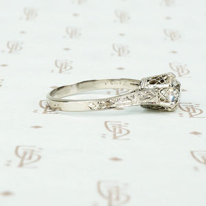 Beautifully Engraved Edwardian Platinum Solitaire