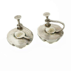 Signed Spratling Silver earrings in the shape of flower pods c 1940's