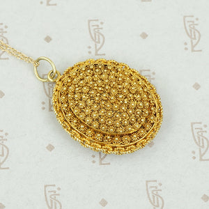 Exquisite Cannetille Locket in 22k Gold