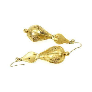 Delightful 15k Gold Etruscan Revival Earrings circa 1870