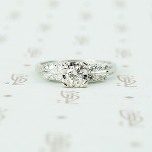 perfect 1940's white gold double sides diamond engagement ring