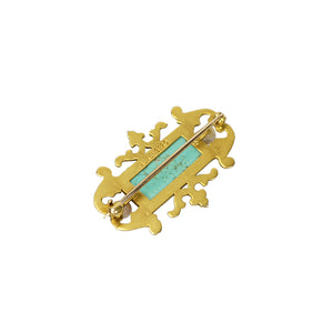 Gold Brooch set with Pate de Verre and Pearls - Gem Set Love
