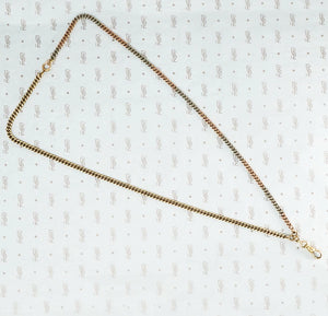 flattened curb chain 14k platinum yellow rose gold necklace